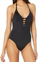 La Blanca Women's Swimwear Black Size 6 One-Piece Strappy Halter $119- #291
