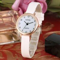 Women's Quartz Watch Ladies Wrist Rose Gold Round Case Matte Leather Band Strap
