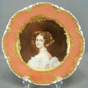 Haviland Limoges Hand Painted Auguste Strobl Pink & Raised Gold Portrait Plate