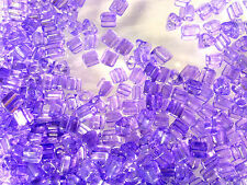 Vtg 100 grams AMETHYST TRIANGLE GLASS SEED BEADS   #083110z