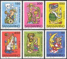 San Marino 1984 espacio/coche/TV/Serpiente/ciencia/Caricaturas/animación 6 V Set (n43433)