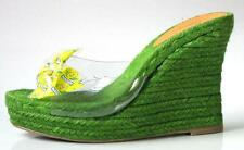 new CASTANER lime green CANDY wrapper BOW espadrille WEDGES platform shoes Spain