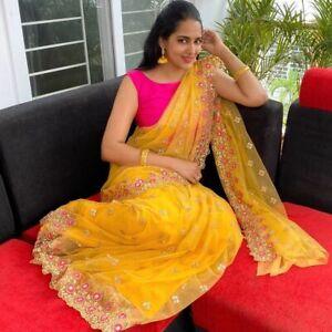 Yellow Net Party Saree Fancy Embroidery Designer Mirror Work Indian Ethnic Sari