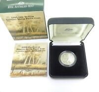 .1995 R.A.M. $1 STERLING SILVER PROOF, MINT IN ORIGINAL CASE WITH COA.