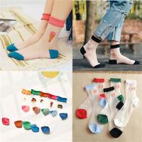 Women Girls Street Snap Lovely Food Animal Ankle Socks Transparent Stockings
