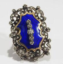 14K Edwardian Diamond Ring Large Blue Enamel Silver 0.25ctw
