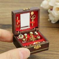1/12 Dollhouse Miniature Wooden Vintage Jewelry Box Dollhouse Decor Miniature
