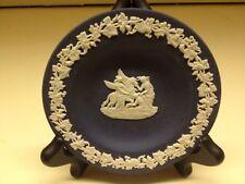 Wedgwood Blue Jasper Ware Round Dish Neoclassical Pegasus Motif - Used Condition