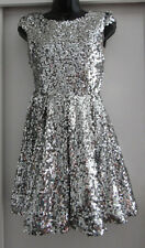 NWT TOPSHOP SILVER SEQUIN SPARKLE DISCO BALL FIT & FLARE DRESS WOMEN'S SZ 6 $160