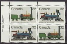 CANADA #999-1000 32¢ Canadian Locomotives UL Inscription Block MNH