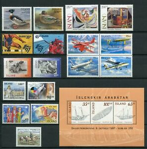 Iceland Year Set 1997 MNH Complete Including Postal Planes II Block of Four