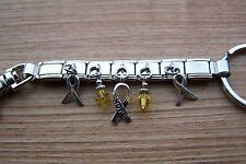 Suicide Prevention Awareness / Missing Children Ribbon Charm Key Ring Yellow