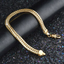 6mm Hand Chain Women Wristband 18K Gold Plated Bracelet Bangle Jewelry