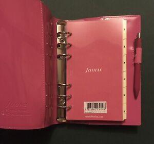 FILOFAX DOMINO PATENT Hot Pink Planner Elasticated Closure & Matching Pen
