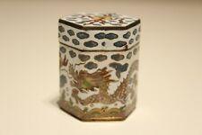 VINTAGE SMALL BEAUTIFUL BRASS ENAMEL MAYBE CHINA CHINESE BOX WITH DRAGON