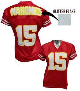 Customizebale Womens Blinged Football RED Jersey,ANY NAME,Patrick Mahomes Chiefs