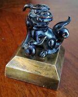 Petit Bronze chinois sur base en laiton massif