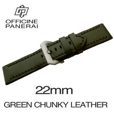 • 22mm Green Chunky Leather Bracelet / Strap With Buckle For Officine Panerai •