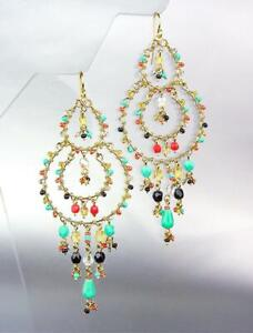 ARTISANAL Yellow Citrine Turquoise Black Multi Crystals Gold Chandelier Earrings