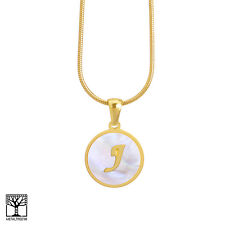 """Women's Stainless Steel in Gold J Initial Letter Medallion 16"""" Chain Necklace"""