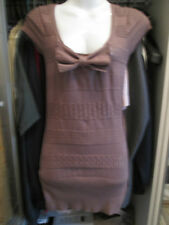 Jane Norman - Brown bow front cotton mini dress size 8