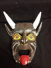 OLD MEXICAN MASK DEVIL DIABLO FOLK ART CARVED WOOD DANCE MASK w/ HORNS