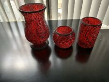 3 mosiac red candle Holder