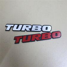 1x Silver + 1x Red TURBO Matte B New Metal Badge Emblem Sticker Auto Sport Logo