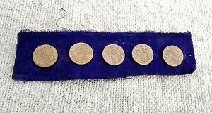 Vintage Buttons M Design Engraved Collectable / Decorative - 5 Pcs. Set