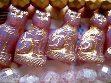 Neue schöne Opal Rose Katzenperlen m.Bronze-Prägung- 24x14mm- 5Stk.-