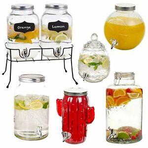 4-8 Litre Glass Beverage Drinks Dispenser Jug Jar Lid Juice Cocktail BBQ Party