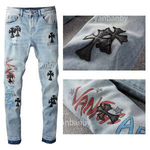 New Italy Pop Style Men's Cross Printing Pants Graffiti Skinny Blue Jeans CH722C