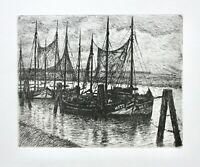 Friedrich Schaper (1869-1956) Orig. Radierung, Nachlass-Stempel, Boote im Hafen