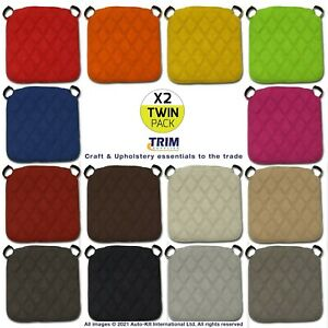 TWIN PACK SEAT PADS Dining Chair Kitchen Indoor Outdoor Quilted Diamond Decor