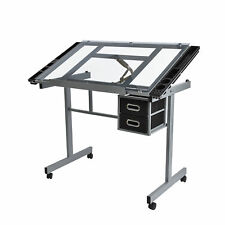 Adjustable Drawing Desk Rolling Drafting Table Board Tempered Glass Top