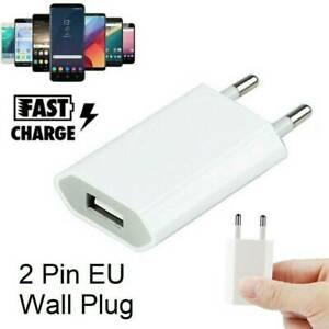 European USB plug Euro Europe EU 2 Pin 1A Fast USB Wall Plug Charger White