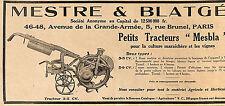 "PARIS MESTRE & BLATGé PETITS TRACTEURS "" MESBLA "" PUBLICITE ADVERTISING 1930"