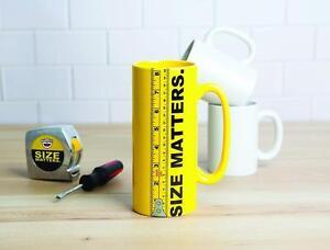 SIZE MATTERS 8 INCH YELLOW LARGE TEA COFFEE DRINK BEVERAGE NOVELTY MUG GIFT