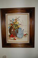 Vintage Handmade Crewel Yarn Embroidery Picture Still Life Art Wood Frame 26x22