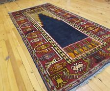 "Exquiste 1930-1940s Antique Natural Dyes 3'6""×7' Wool Pile Tribal Prayer Rug"