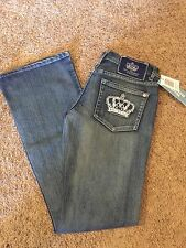 Womens NEW VICTORIA BECKHAM FOR ROCK REPUBLIC 31/33 Blue Long Flare Jeans