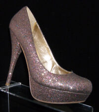 Steve Madden 'Caryssa' round toe sparkle glitter platform heel shoe 8.5M