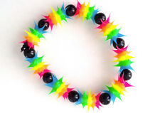 UV GLOW  Silicone Bracelet surfer rave dance hippie Rainbow blue  UV GLO 005
