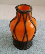 """Vintage Orange Glass Bottle Decanter Wired Wired Basket Opaque Bohemian 5"""" Tall"""