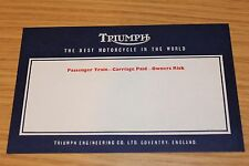 Triumph Factory Goods Out Address Labels Original Factory Item From Closure