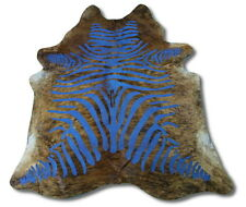 Turquoise Cowhide Rug Size: 7' X 7' Dyed Stripes on Brindle Cow Hide Rug i-369