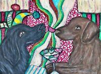 FLAT COATED RETRIEVER Drinking a Martini Dog Pop Vintage Art 8 x 10 Signed Print