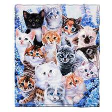 Dawhud Direct Kitten Collage Super Soft Fleece Throw Blanket by Jenny Newland