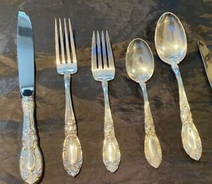 8 KING RICHARD STERLING SILVER 5 PIECE SETTINGS WITH THE LARGE HEVY OVAL SOUPS