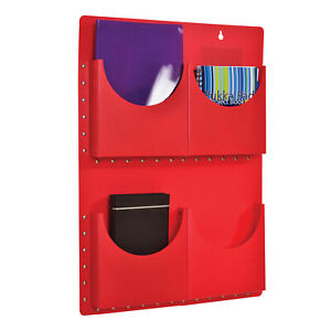 Classroom Office A4 Filapocket x 4 pockets Wall Hanging Storage- Red